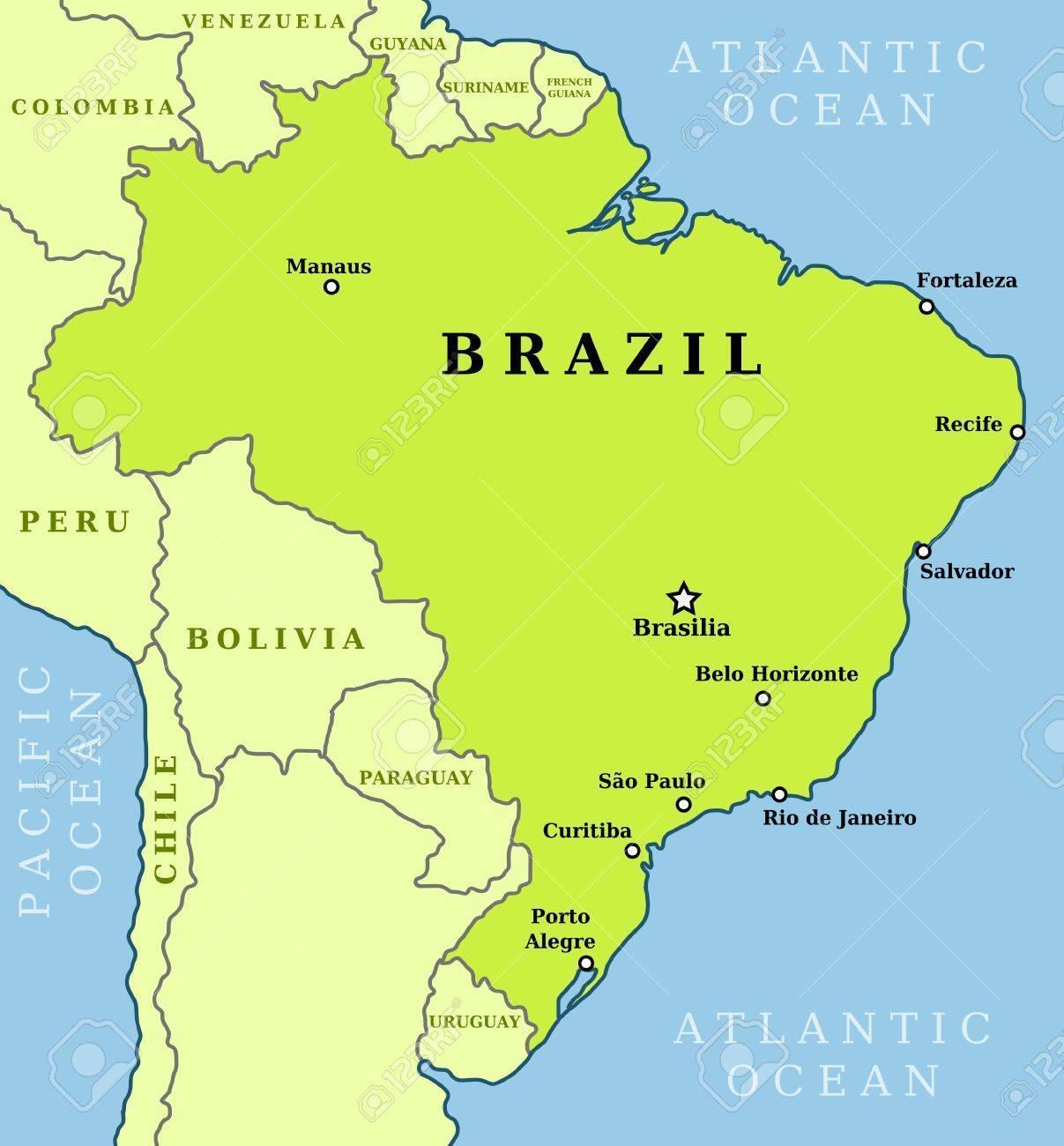 Kort Over Brasilien Byer Brasilien Kort Over Byer Syd Amerika