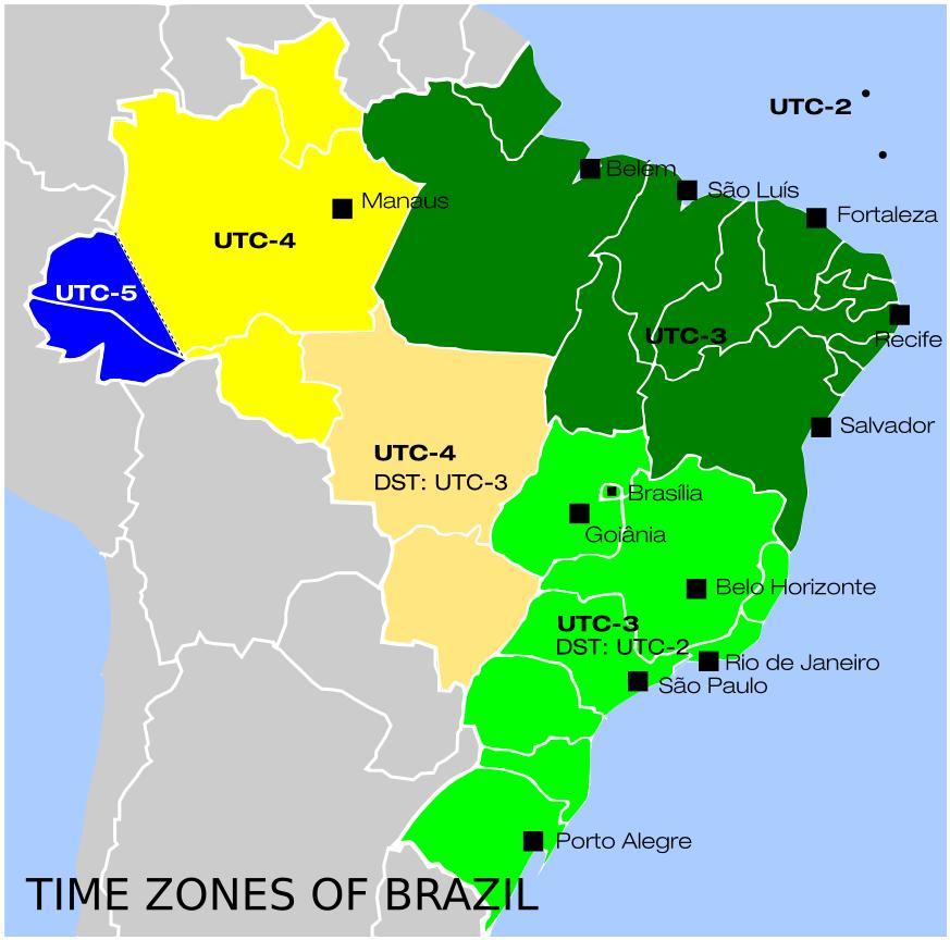 Tidszoner I Brasilien Kort Kort Over Brasilien Tidszoner Syd