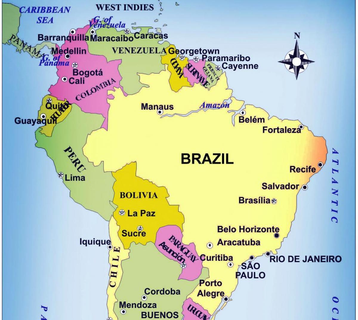 Brasilien Pa Et Kort Kort Over Brasilien Syd Amerika Amerika